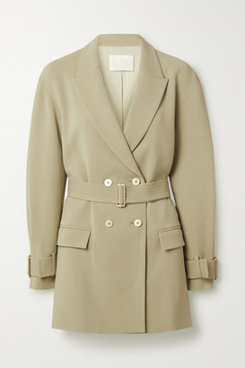 Dion Lee Oversized Double-breasted Belted Crepe Blazer - Light green