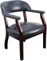 Flash Furniture B-Z105-NAVY-GG Vinyl Luxurious Conference Chair, Navy Blue/Mahogany