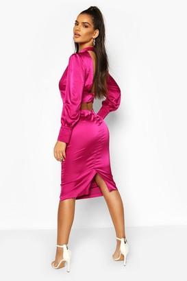 boohoo Satin Low Back Button Detail Midi Dress