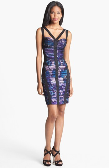 Aidan Mattox Mesh Overlay Print Sheath Dress