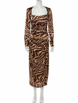 Ganni Silk Long Dress w/ Tags Brown