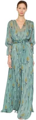 Luisa Beccaria Floral Printed Silk Chiffon Dress