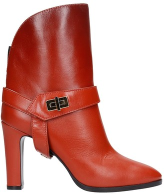 Givenchy Eden High Heels Ankle Boots In Brown Leather