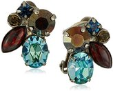 "Sorrelli Blue Brocade"" Crystal Cluster Clip-On Earrings"