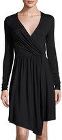 Three Dots Gabriella Faux-Wrap Jersey Dress, Black