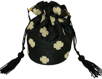Potli Of Love Black Drawstring Bucket Pouch Bag With Pearl Embroidery