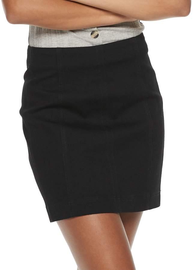 Mudd Juniors' Seamed Bodycon Denim Skirt