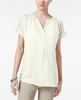 Charter Club Roll-Tab Split-Neck Top, Created for Macy's
