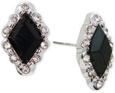 Lauren Ralph Lauren Silver-Tone Geometric Black Crystal Earrings
