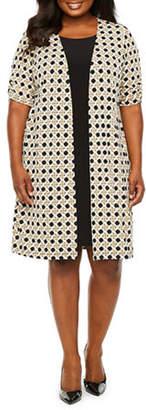 Perceptions-Plus Short Sleeve Puff Print Faux Jacket Dress