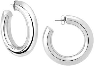Janis Savitt High Polish Large Hoop Rhodium Plated Earrings