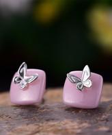 Lotus Fun Women's Earrings Silver - Pink & Sterling Silver Butterfly Stud Earrings