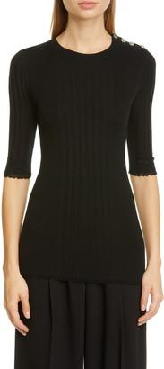 Proenza Schouler Button Shoulder Silk & Cashmere Blend Sweater