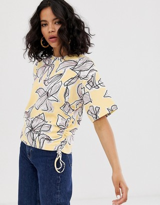 Asos floral ruched side detail blouse-Yellow