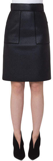 Akris Scuba-Fused Leather Skirt