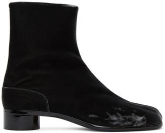 Maison Margiela Black Velvet Low Heel Tabi Boots
