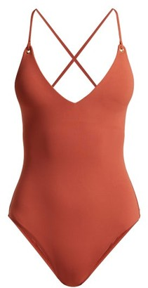 Melissa Odabash Catalina Lace-back Swimsuit - Womens - Dark Orange