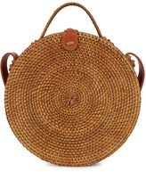 Isa & Stef Large Round Rattan Top Handle Crossbody Bag