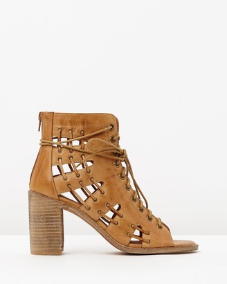 Mollini Women's Brown Strappy sandals - Jayman Leather Block Heels - Size 36 at The Iconic