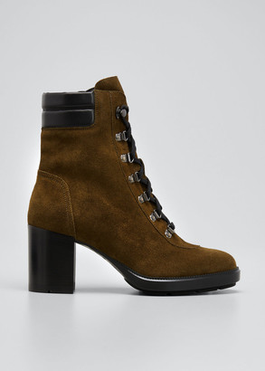 Aquatalia 70mm Iriana Suede Lace-Up Booties