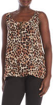 August Silk Animal Print Front Zip Top