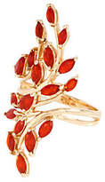 QVC Fire Opal Bold Leaf Design Ring, 14K, 1.00 cttw
