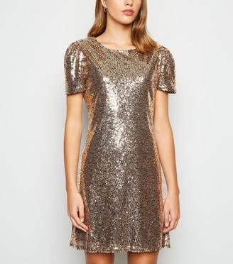 New Look Mela Sequin Puff Sleeve Mini Dress