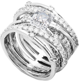 Crislu Platinum-Plated Silver Cz Ring