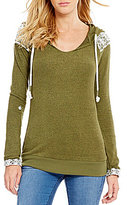 Miss Chievous Roll-Tab Lace Inset Hoodie Pullover