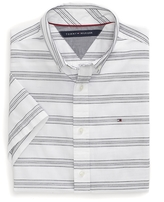 Tommy Hilfiger Stripe Short Sleeve Custom Fit Shirt