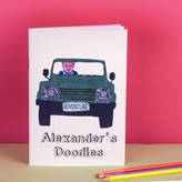 Snapdragon Personalised 'Your Child In A Land Rover' Notebook