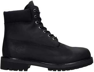 Timberland 6in Prem Wp Combat Boots In Black Leather
