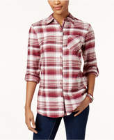 Style&Co. Style & Co Plaid Velvet-Contrast Shirt, Created for Macy's