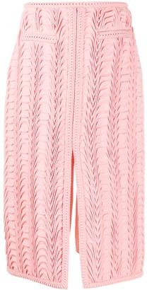 Marco De Vincenzo Textured Front-Slit Pencil Skirt