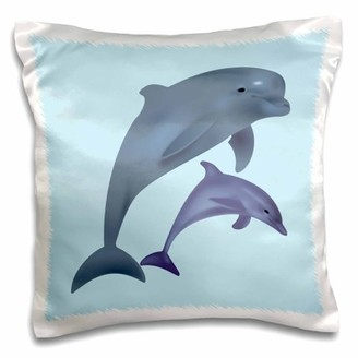3dRose Dolphins jumping. Blue and grey. Kids room decor, Pillow Case, 16 by 16-inch