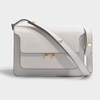 Marni Trunk Medium Bag In Grey Pelican Saffiano Leather