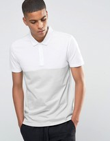 Asos Half & Half Textured Polo In Gray and White