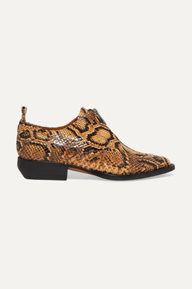 Chloé Rylee Snake-effect Leather Brogues - Snake print