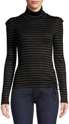 Generation Love Rose Metallic-Stripe Turtleneck Top