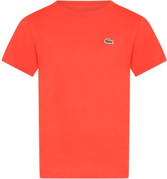 Lacoste Red T-shirt For Boy With Crocodile