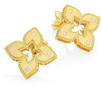 Roberto Coin Venetian Princess 18K Yellow Gold & Diamond Stud Earrings