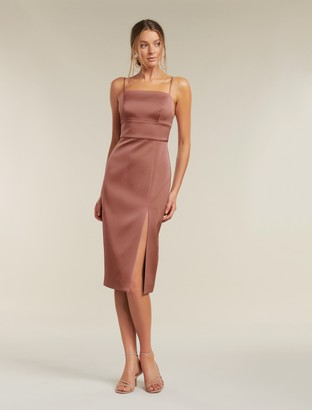 Forever New Misty Bonded Satin Midi Dress - Dusty Rose - 10