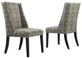 Homelegance Harlow Wingback Damask Dining Chair with Nailheads Wood/Blue (Set of 2) - Inspire Q