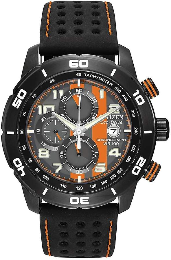 Citizen Men's Mens Primo Chronograph Watch in Black and Orange