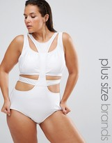 Monif C White Cut Out Swimsuit