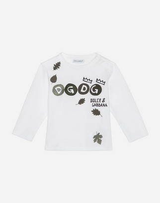 Dolce & Gabbana Long-Sleeved Jersey T-Shirt With Leaf Print With Patch Detail