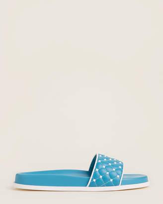 Valentino Rockstud Quilted Leather Slide Sandals