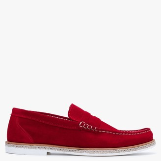 Paolo Vandini Delias Red Suede Jute Trim Loafers