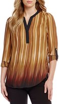 Investments Y-Neck Roll Tab Sleeve Printed Blouse