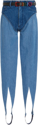 Y/Project Belted Two-Tone Denim Stirrup Pants